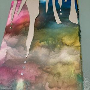 Original melted crayon art with mirror accents